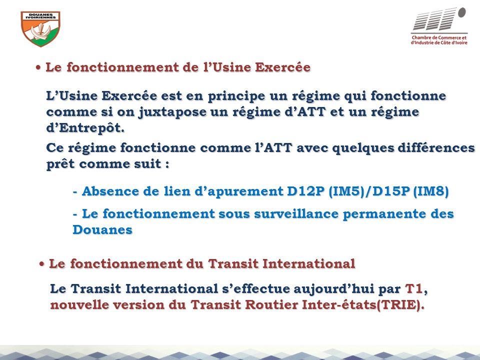 Le fonctionnement de lUsine Exercée Le fonctionnement de lUsine Exercée - Absence de lien dapurement D12P (IM5)/D15P (IM8) LUsine Exercée est en princ