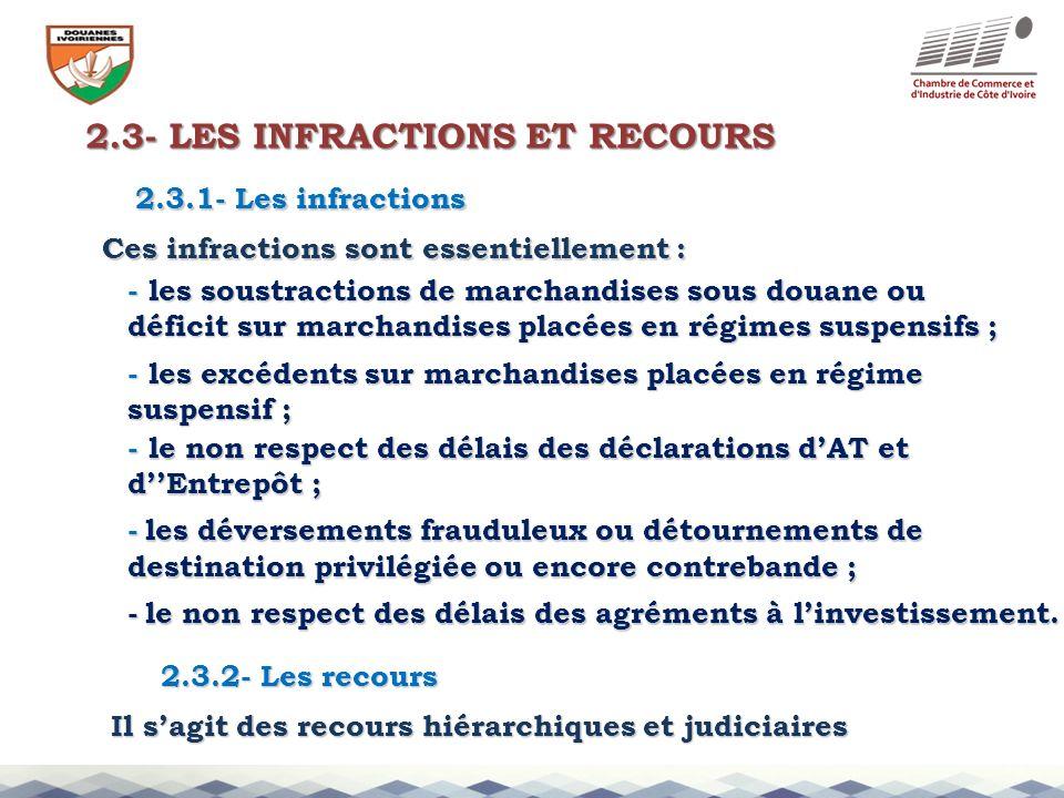 2.3- LES INFRACTIONS ET RECOURS 2.3.1- Les infractions Ces infractions sont essentiellement : - les soustractions de marchandises sous douane ou défic
