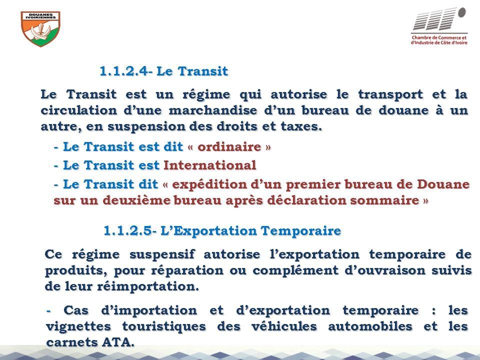1.1.2.4- Le Transit Le Transit est un régime qui autorise le transport et la circulation dune marchandise dun bureau de douane à un autre, en suspensi