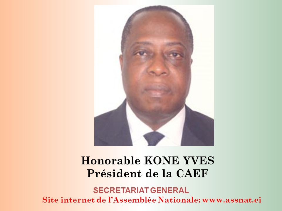 Site internet de lAssemblée Nationale: www.assnat.ci SECRETARIAT GENERAL Honorable KONE YVES Président de la CAEF