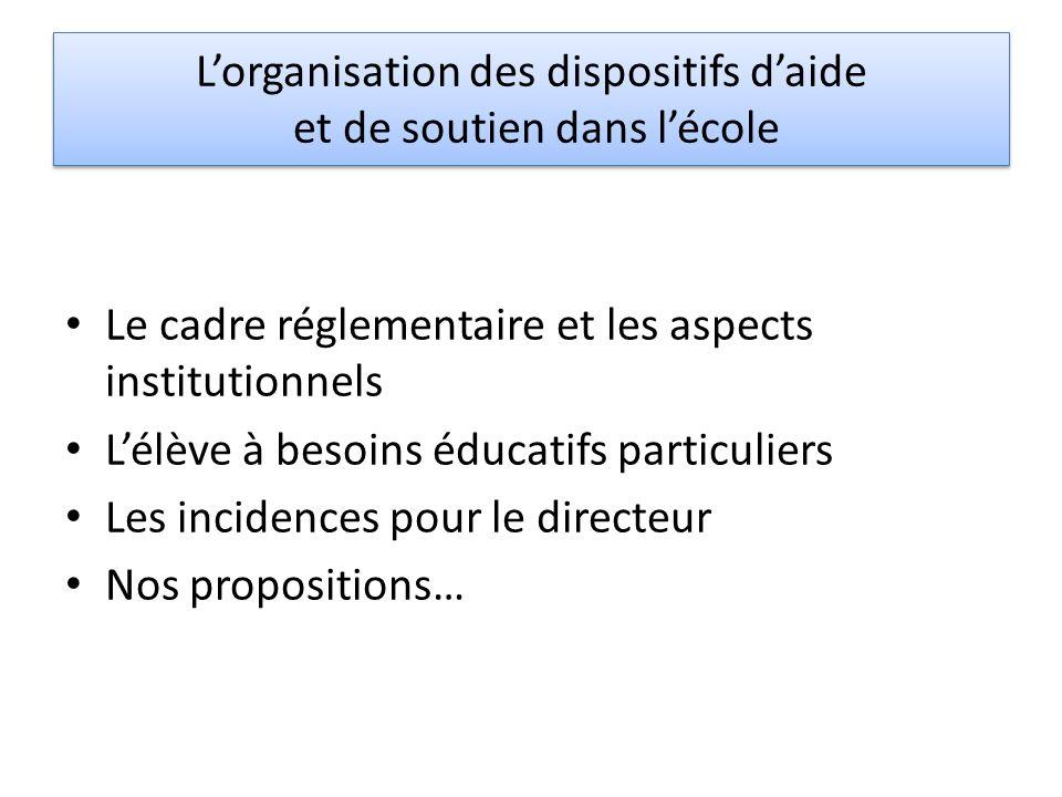 Lorganisation des dispositifs daide et de soutien dans lécole Le cadre réglementaire et les aspects institutionnels Lélève à besoins éducatifs particu