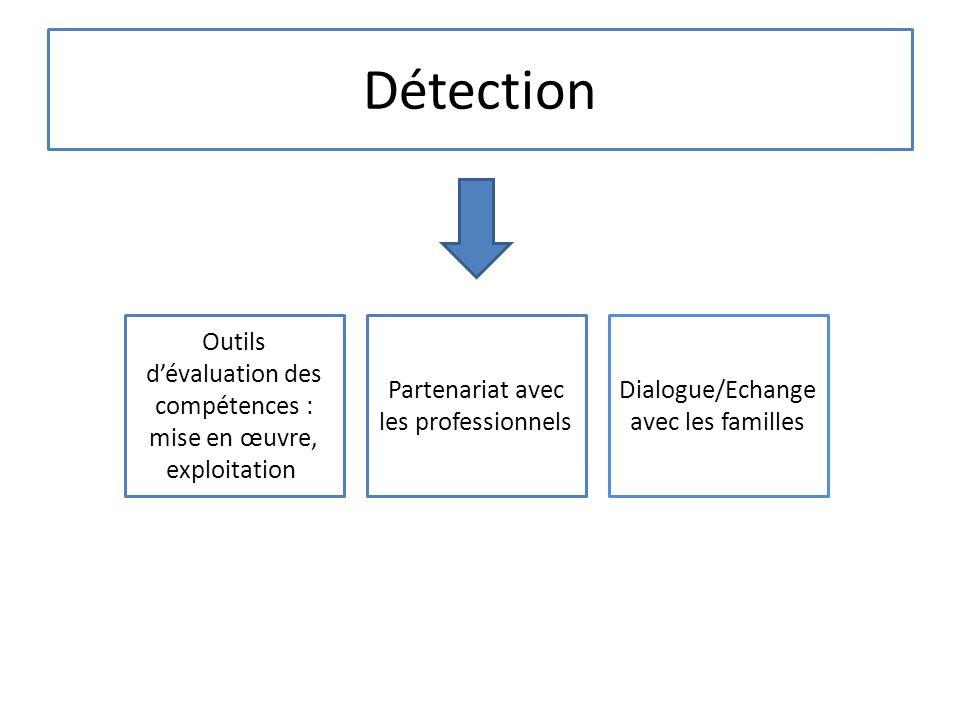Détection Outils dévaluation des compétences : mise en œuvre, exploitation Partenariat avec les professionnels Dialogue/Echange avec les familles