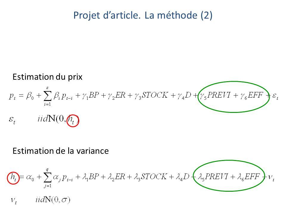 Estimation du prix Estimation de la variance Projet darticle. La méthode (2)