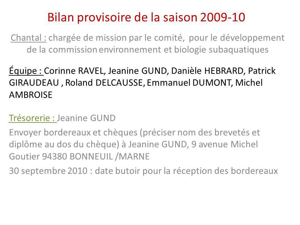 Bilan provisoire de la saison 2009-10 Chantal : chargée de mission par le comité, pour le développement de la commission environnement et biologie sub