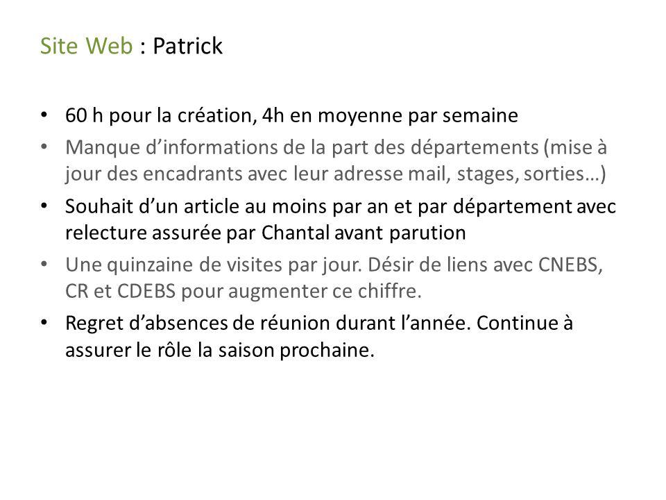 Site Web : Patrick 60 h pour la création, 4h en moyenne par semaine Manque dinformations de la part des départements (mise à jour des encadrants avec