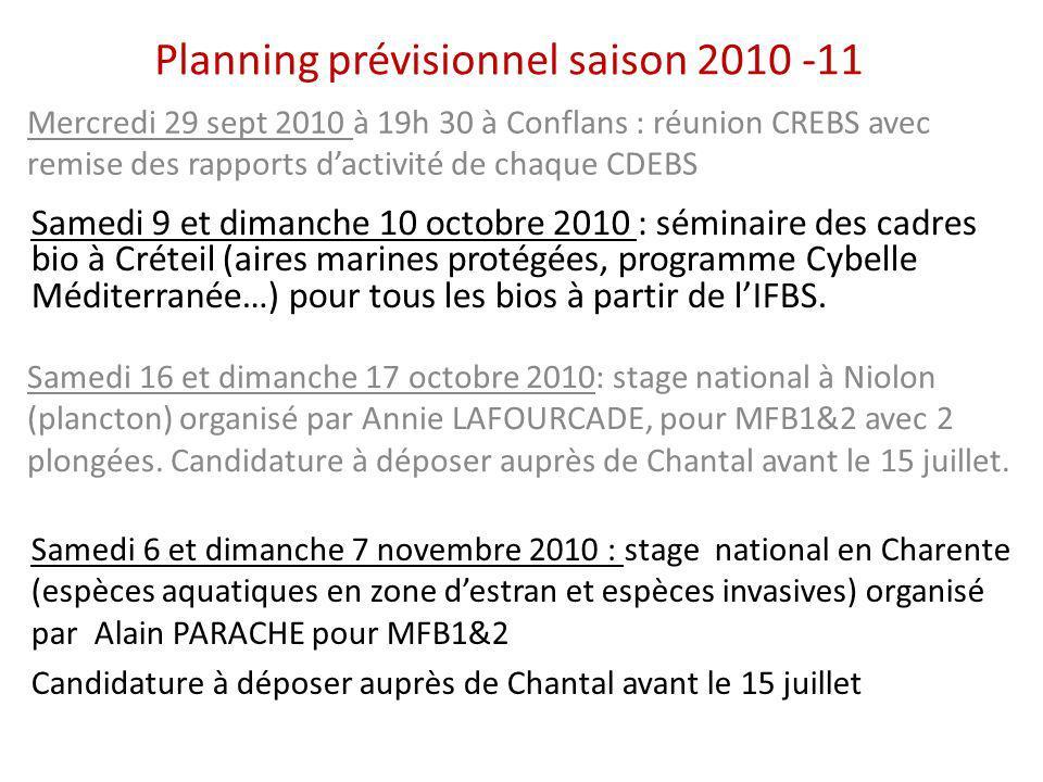 Planning prévisionnel saison 2010 -11 Samedi 9 et dimanche 10 octobre 2010 : séminaire des cadres bio à Créteil (aires marines protégées, programme Cy