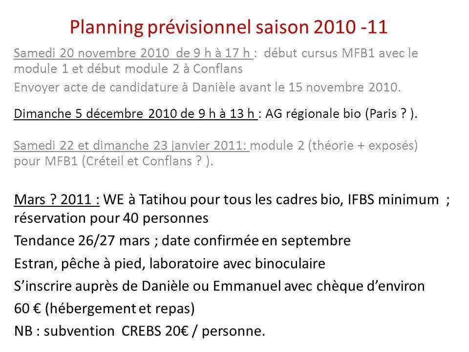 Planning prévisionnel saison 2010 -11 Samedi 20 novembre 2010 de 9 h à 17 h : début cursus MFB1 avec le module 1 et début module 2 à Conflans Envoyer acte de candidature à Danièle avant le 15 novembre 2010.
