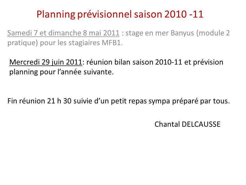 Planning prévisionnel saison 2010 -11 Samedi 7 et dimanche 8 mai 2011 : stage en mer Banyus (module 2 pratique) pour les stagiaires MFB1. Mercredi 29