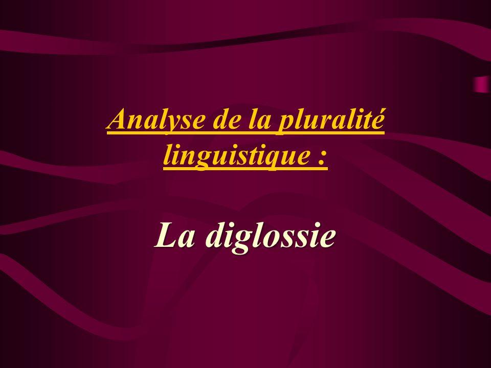 Analyse de la pluralité linguistique : La diglossie