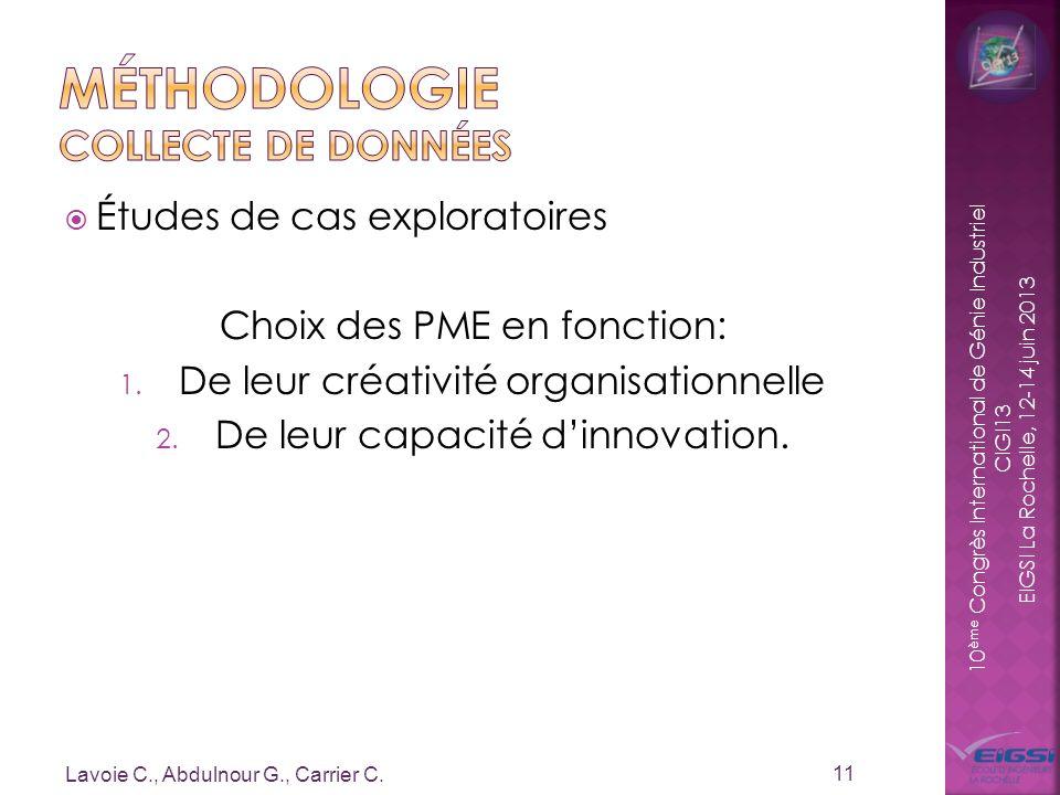 10 ème Congrès International de Génie Industriel CIGI13 EIGSI La Rochelle, 12-14 juin 2013 Études de cas exploratoires Choix des PME en fonction: 1. D