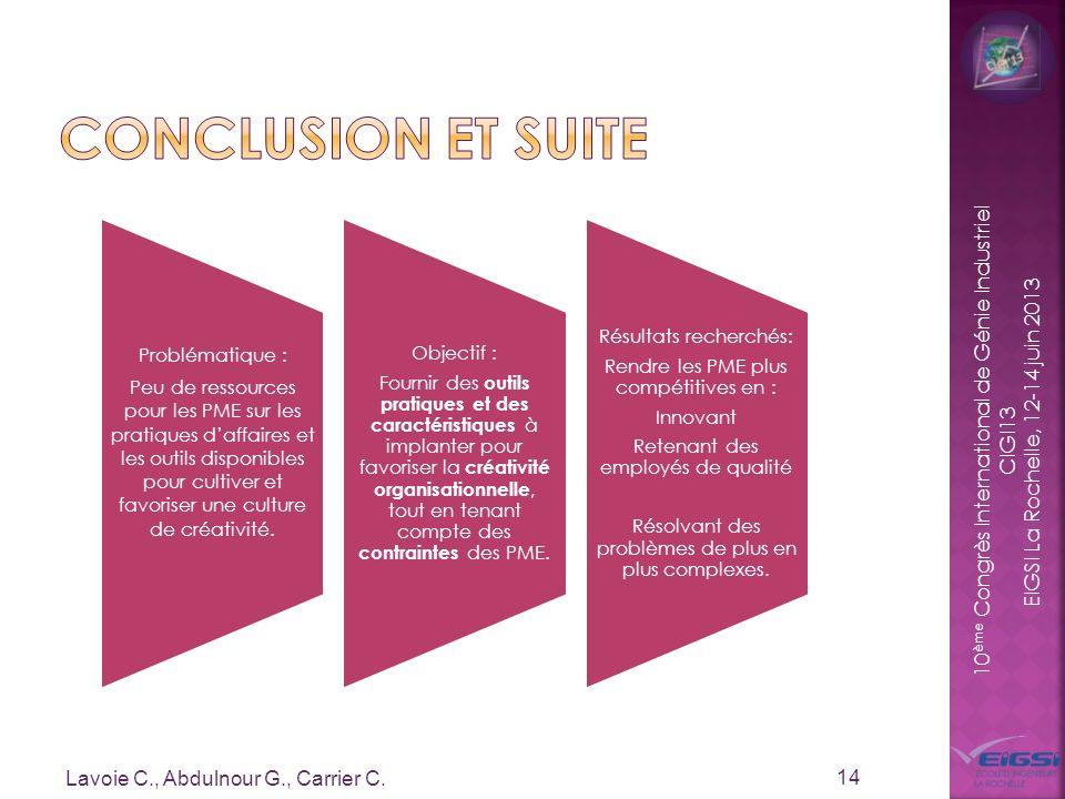 10 ème Congrès International de Génie Industriel CIGI13 EIGSI La Rochelle, 12-14 juin 2013 Lavoie C., Abdulnour G., Carrier C. 14 Problématique : Peu