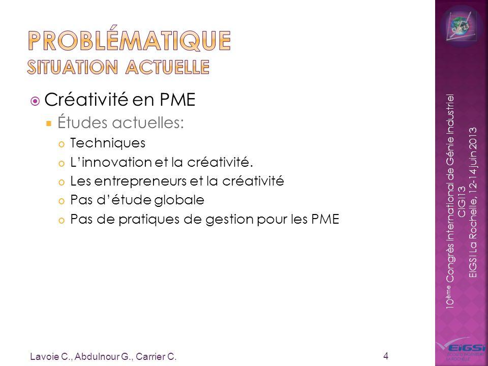 10 ème Congrès International de Génie Industriel CIGI13 EIGSI La Rochelle, 12-14 juin 2013 Créativité en PME Études actuelles: Techniques Linnovation
