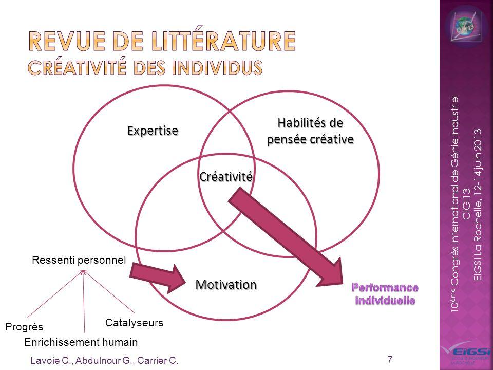 10 ème Congrès International de Génie Industriel CIGI13 EIGSI La Rochelle, 12-14 juin 2013 Lavoie C., Abdulnour G., Carrier C. 7 Expertise Motivation