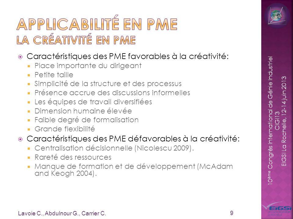 10 ème Congrès International de Génie Industriel CIGI13 EIGSI La Rochelle, 12-14 juin 2013 Caractéristiques des PME favorables à la créativité: Place