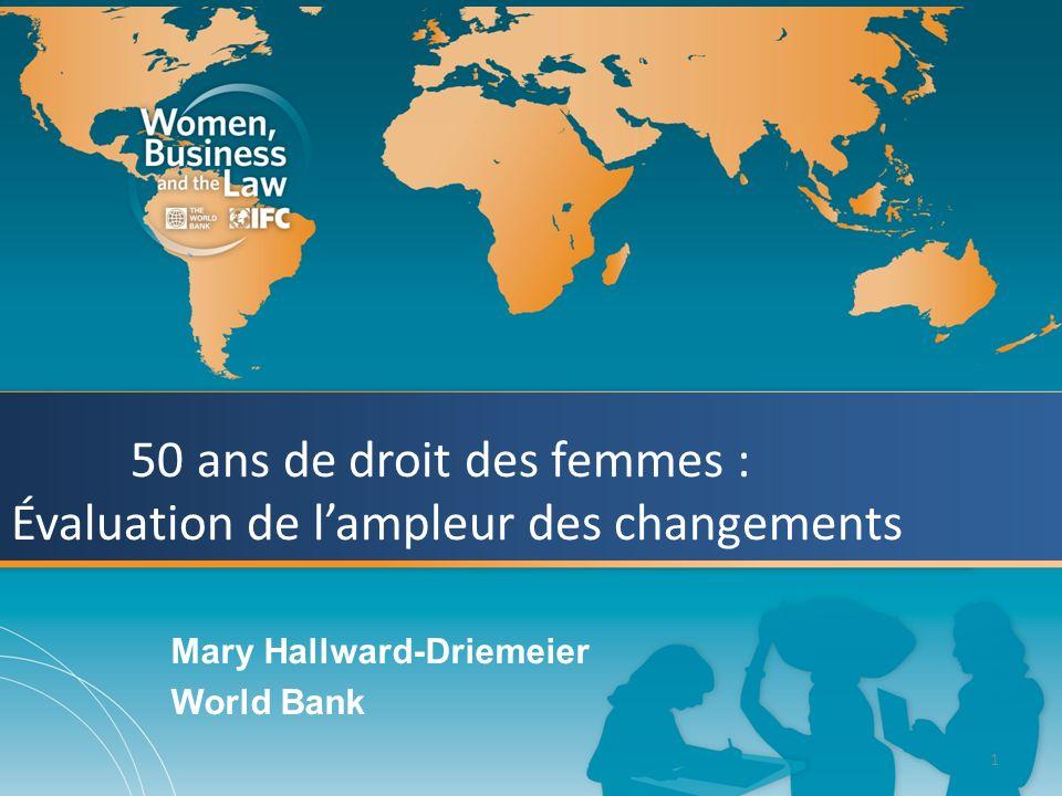 1 50 ans de droit des femmes : Évaluation de lampleur des changements Mary Hallward-Driemeier World Bank