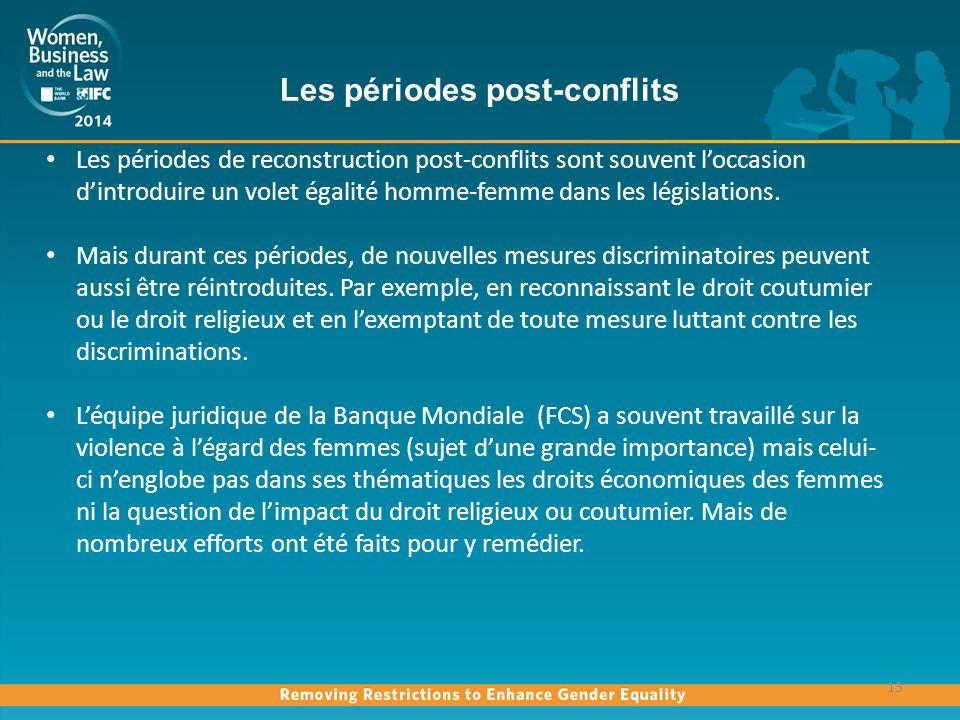 Les périodes post-conflits 13 Les périodes de reconstruction post-conflits sont souvent loccasion dintroduire un volet égalité homme-femme dans les législations.