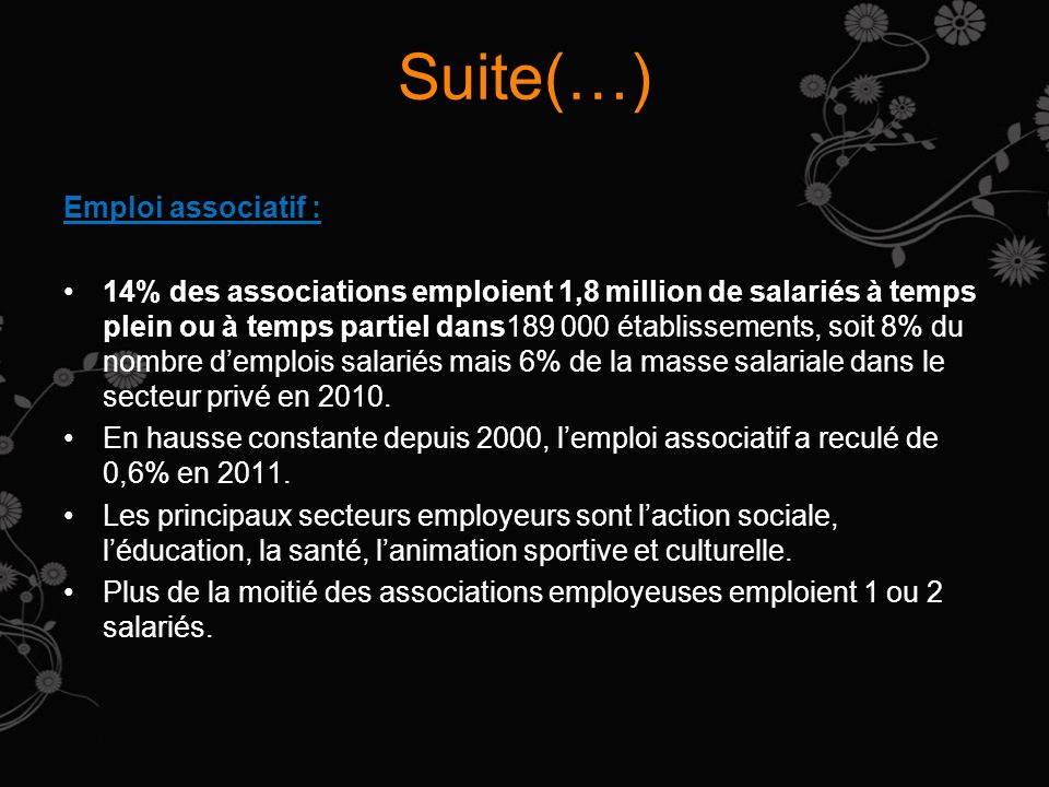 Suite(…) Emploi associatif : 14% des associations emploient 1,8 million de salariés à temps plein ou à temps partiel dans189 000 établissements, soit