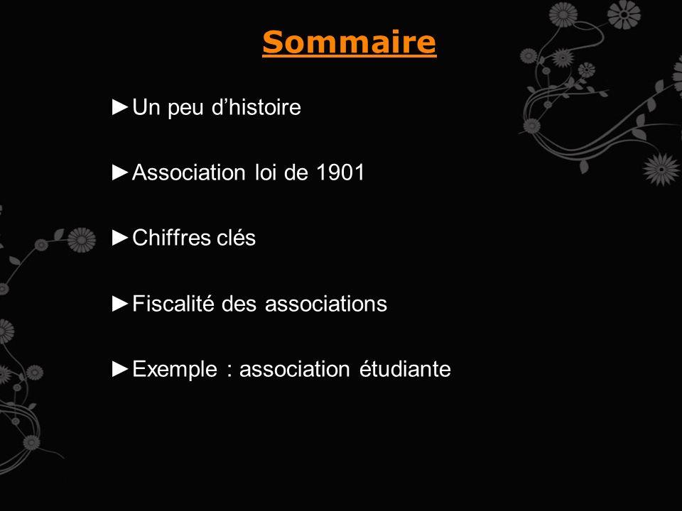 Sommaire Un peu dhistoire Association loi de 1901 Chiffres clés Fiscalité des associations Exemple : association étudiante