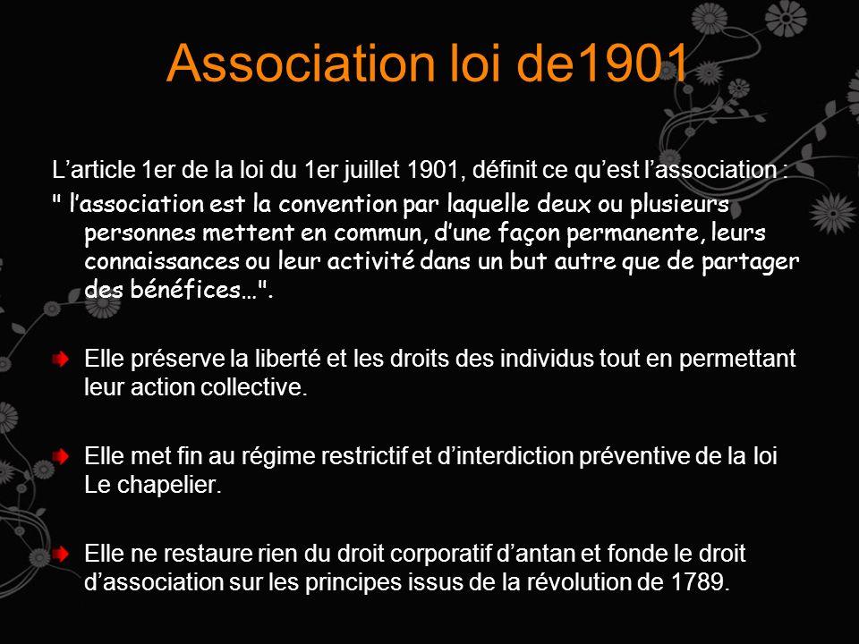 Association loi de1901 Larticle 1er de la loi du 1er juillet 1901, définit ce quest lassociation : lassociation est la convention par laquelle deux ou plusieurs personnes mettent en commun, dune façon permanente, leurs connaissances ou leur activité dans un but autre que de partager des bénéfices… .