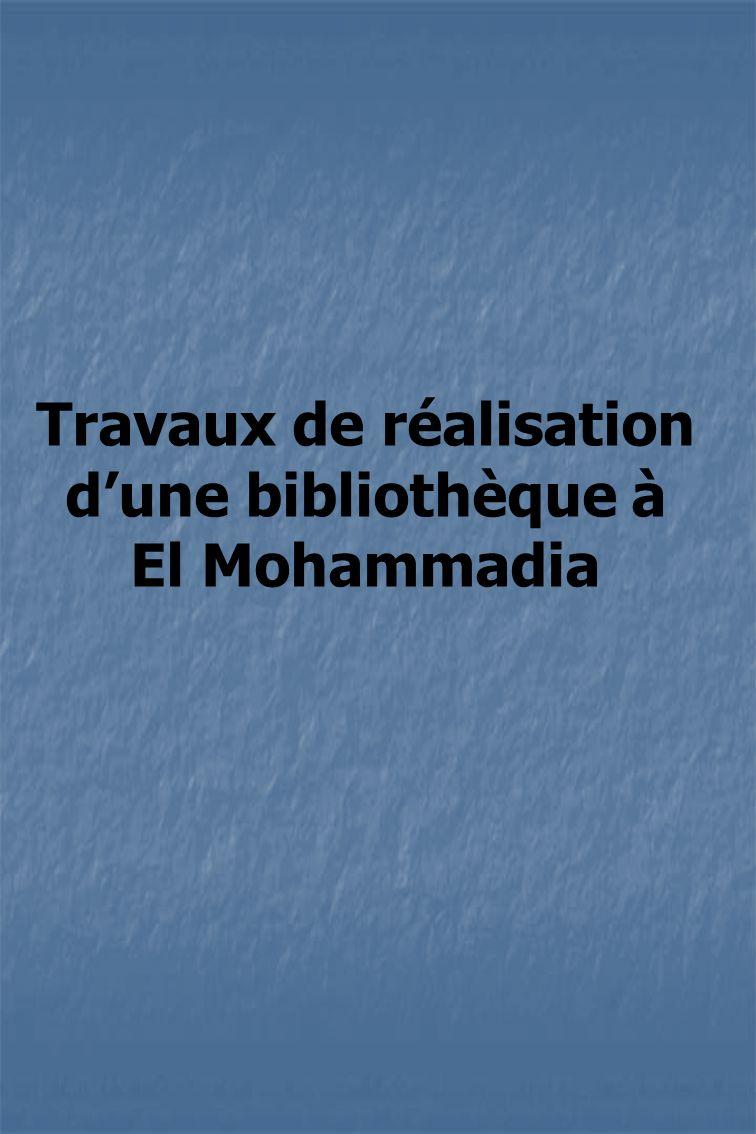 Travaux de réalisation dune bibliothèque à El Mohammadia