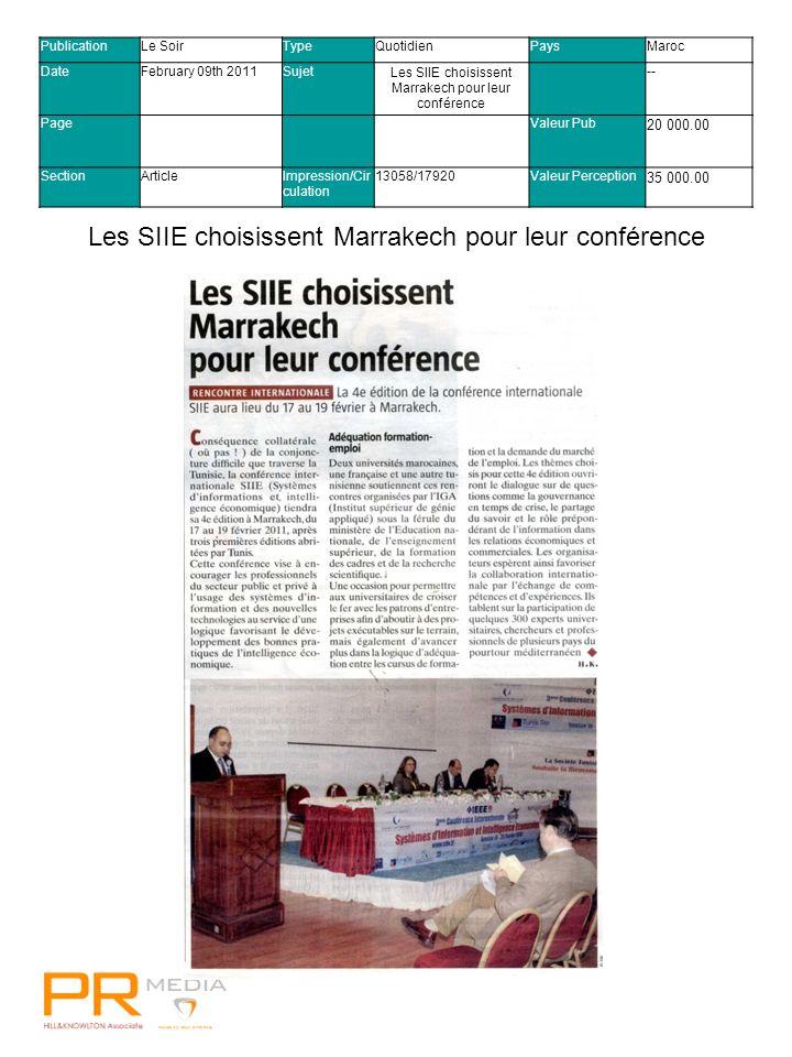 Visa confirme sa relation mondiale avec FIFAVisa confirme sa relation mondiale avec FIFA PublicationLes EchosTypeQuotidienPaysMaroc DateFebruary 09th 2011SujetLes SIIE se déplacent au Maroc -- PageValeur Pub 6 000.00 SectionArticleImpression/Cir culation 13058/17920Valeur Perception 21 000.00 Les SIIE se déplacent au Maroc