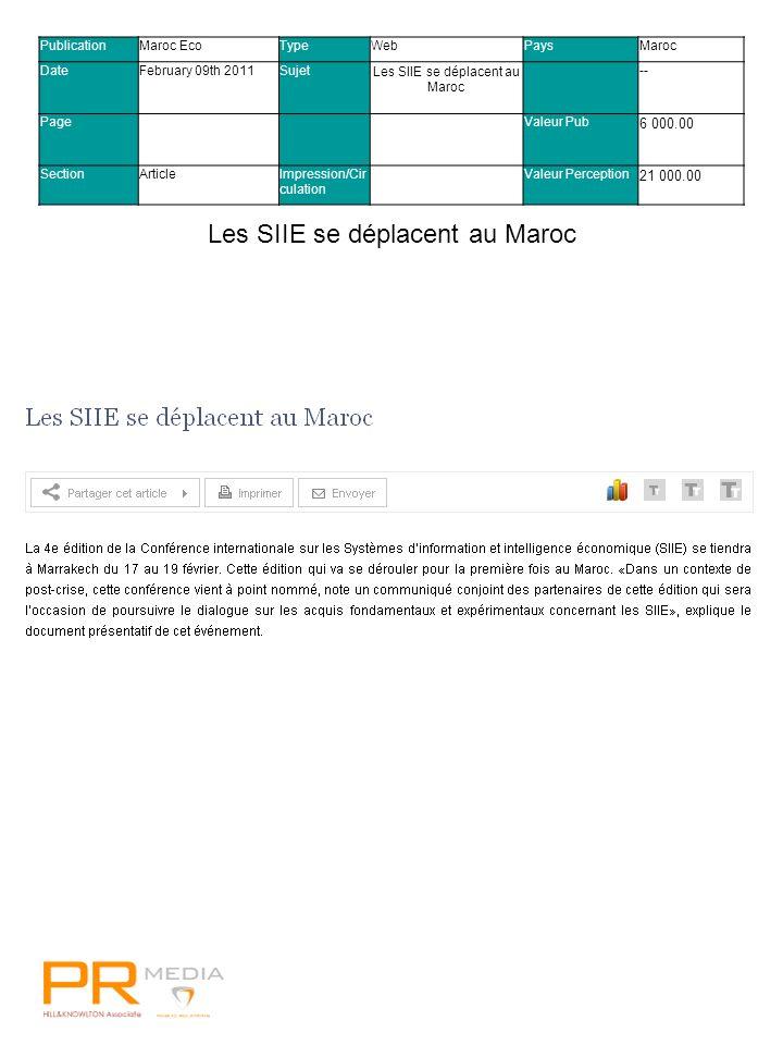 Visa confirme sa relation mondiale avec FIFAVisa confirme sa relation mondiale avec FIFA PublicationMaroc EcoTypeWebPaysMaroc DateFebruary 09th 2011SujetLes SIIE se déplacent au Maroc -- PageValeur Pub 6 000.00 SectionArticleImpression/Cir culation Valeur Perception 21 000.00 Les SIIE se déplacent au Maroc