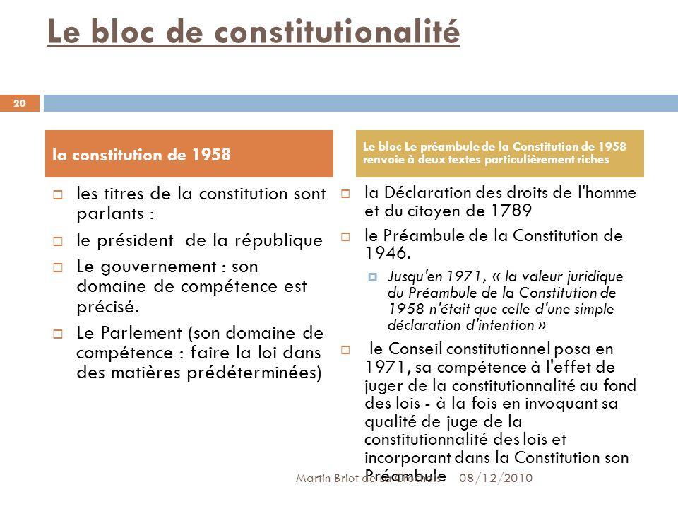 Le bloc de constitutionalité les titres de la constitution sont parlants : le président de la république Le gouvernement : son domaine de compétence est précisé.