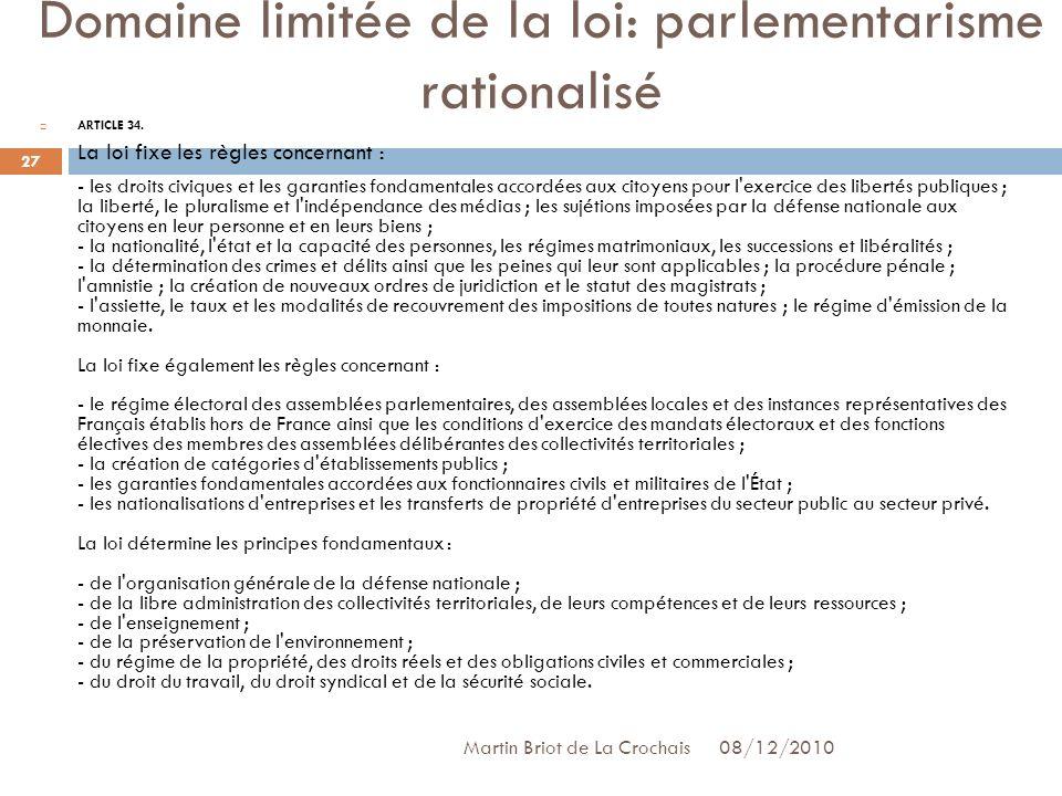 Domaine limitée de la loi: parlementarisme rationalisé ARTICLE 34.