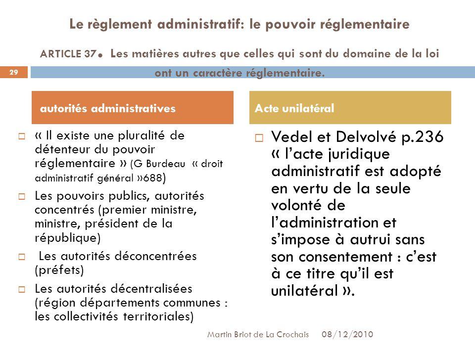 Le règlement administratif: le pouvoir réglementaire ARTICLE 37.