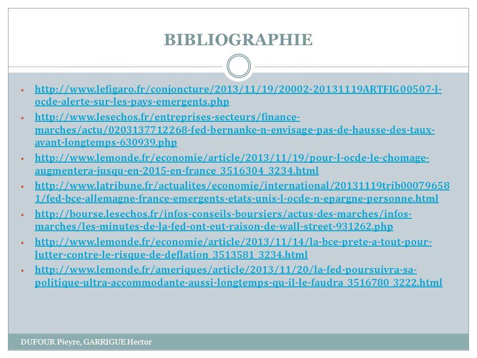 BIBLIOGRAPHIE DUFOUR Pieyre, GARRIGUE Hector http://www.lefigaro.fr/conjoncture/2013/11/19/20002-20131119ARTFIG00507-l- ocde-alerte-sur-les-pays-emergents.php http://www.lefigaro.fr/conjoncture/2013/11/19/20002-20131119ARTFIG00507-l- ocde-alerte-sur-les-pays-emergents.php http://www.lesechos.fr/entreprises-secteurs/finance- marches/actu/0203137712268-fed-bernanke-n-envisage-pas-de-hausse-des-taux- avant-longtemps-630939.php http://www.lesechos.fr/entreprises-secteurs/finance- marches/actu/0203137712268-fed-bernanke-n-envisage-pas-de-hausse-des-taux- avant-longtemps-630939.php http://www.lemonde.fr/economie/article/2013/11/19/pour-l-ocde-le-chomage- augmentera-jusqu-en-2015-en-france_3516304_3234.html http://www.lemonde.fr/economie/article/2013/11/19/pour-l-ocde-le-chomage- augmentera-jusqu-en-2015-en-france_3516304_3234.html http://www.latribune.fr/actualites/economie/international/20131119trib00079658 1/fed-bce-allemagne-france-emergents-etats-unis-l-ocde-n-epargne-personne.html http://www.latribune.fr/actualites/economie/international/20131119trib00079658 1/fed-bce-allemagne-france-emergents-etats-unis-l-ocde-n-epargne-personne.html http://bourse.lesechos.fr/infos-conseils-boursiers/actus-des-marches/infos- marches/les-minutes-de-la-fed-ont-eut-raison-de-wall-street-931262.php http://bourse.lesechos.fr/infos-conseils-boursiers/actus-des-marches/infos- marches/les-minutes-de-la-fed-ont-eut-raison-de-wall-street-931262.php http://www.lemonde.fr/economie/article/2013/11/14/la-bce-prete-a-tout-pour- lutter-contre-le-risque-de-deflation_3513581_3234.html http://www.lemonde.fr/economie/article/2013/11/14/la-bce-prete-a-tout-pour- lutter-contre-le-risque-de-deflation_3513581_3234.html http://www.lemonde.fr/ameriques/article/2013/11/20/la-fed-poursuivra-sa- politique-ultra-accommodante-aussi-longtemps-qu-il-le-faudra_3516780_3222.html http://www.lemonde.fr/ameriques/article/2013/11/20/la-fed-poursuivra-sa- politique-ultra-accommodante-aussi-longtemps-qu-il-le-faudra_35167