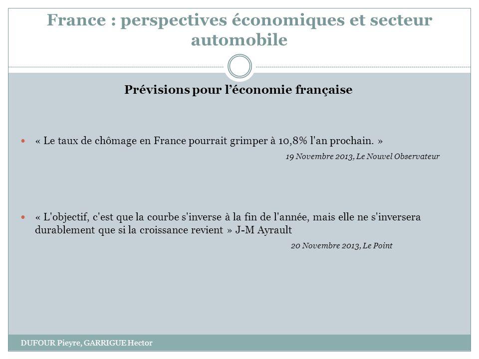 France : perspectives économiques et secteur automobile DUFOUR Pieyre, GARRIGUE Hector Prévisions pour léconomie française « Le taux de chômage en France pourrait grimper à 10,8% l an prochain.
