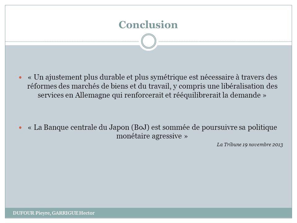 Conclusion DUFOUR Pieyre, GARRIGUE Hector « Un ajustement plus durable et plus symétrique est nécessaire à travers des réformes des marchés de biens e