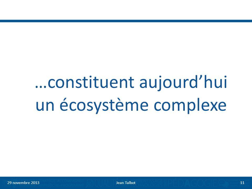 …constituent aujourdhui un écosystème complexe 29 novembre 2013Jean Talbot11