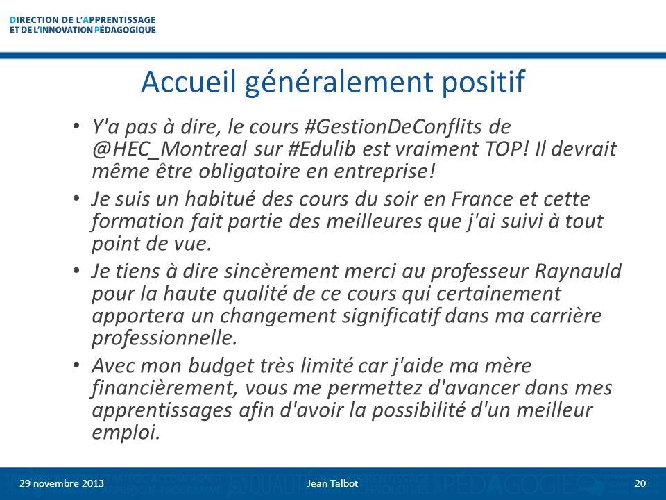 Accueil généralement positif Y a pas à dire, le cours #GestionDeConflits de @HEC_Montreal sur #Edulib est vraiment TOP.