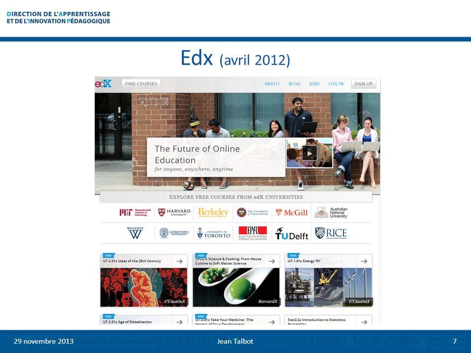Edx (avril 2012) 29 novembre 20137Jean Talbot