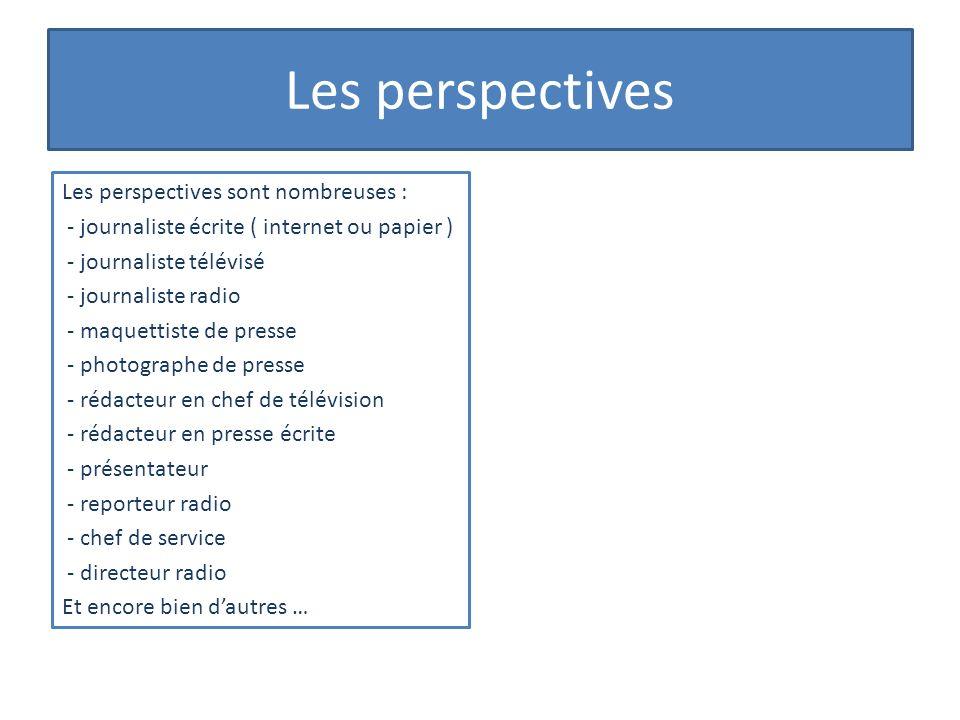 Les perspectives Les perspectives sont nombreuses : - journaliste écrite ( internet ou papier ) - journaliste télévisé - journaliste radio - maquettis