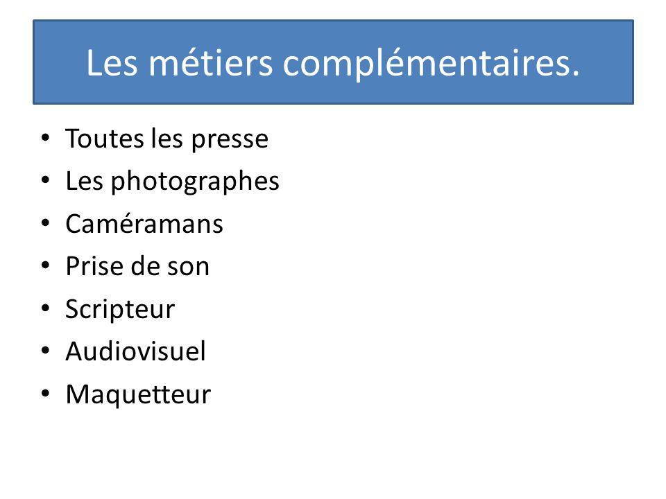 Les métiers complémentaires. Toutes les presse Les photographes Caméramans Prise de son Scripteur Audiovisuel Maquetteur
