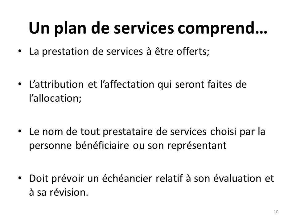 Un plan de services comprend… La prestation de services à être offerts; Lattribution et laffectation qui seront faites de lallocation; Le nom de tout