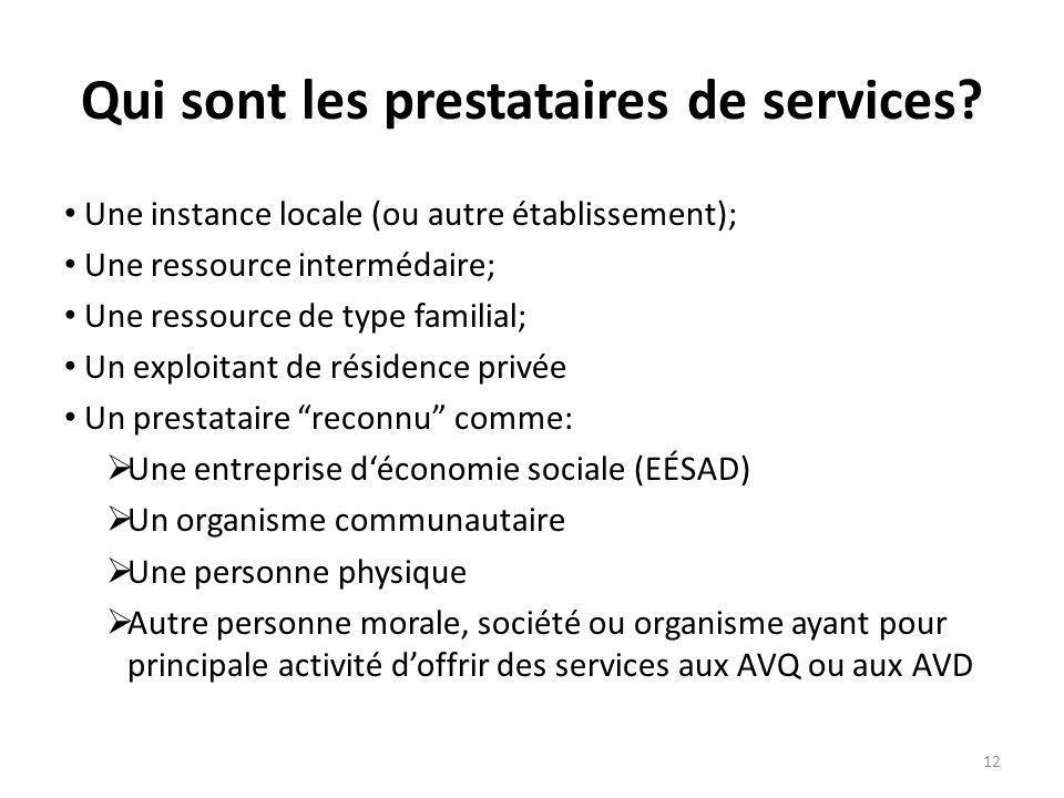 Qui sont les prestataires de services? Une instance locale (ou autre établissement); Une ressource intermédaire; Une ressource de type familial; Un ex