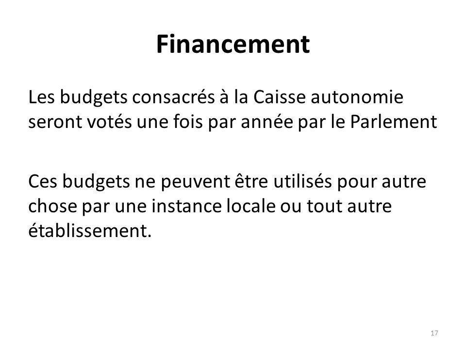 Financement Les budgets consacrés à la Caisse autonomie seront votés une fois par année par le Parlement Ces budgets ne peuvent être utilisés pour autre chose par une instance locale ou tout autre établissement.