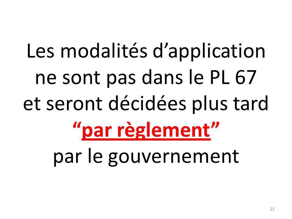 Les modalités dapplication ne sont pas dans le PL 67 et seront décidées plus tardpar règlement par le gouvernement 21