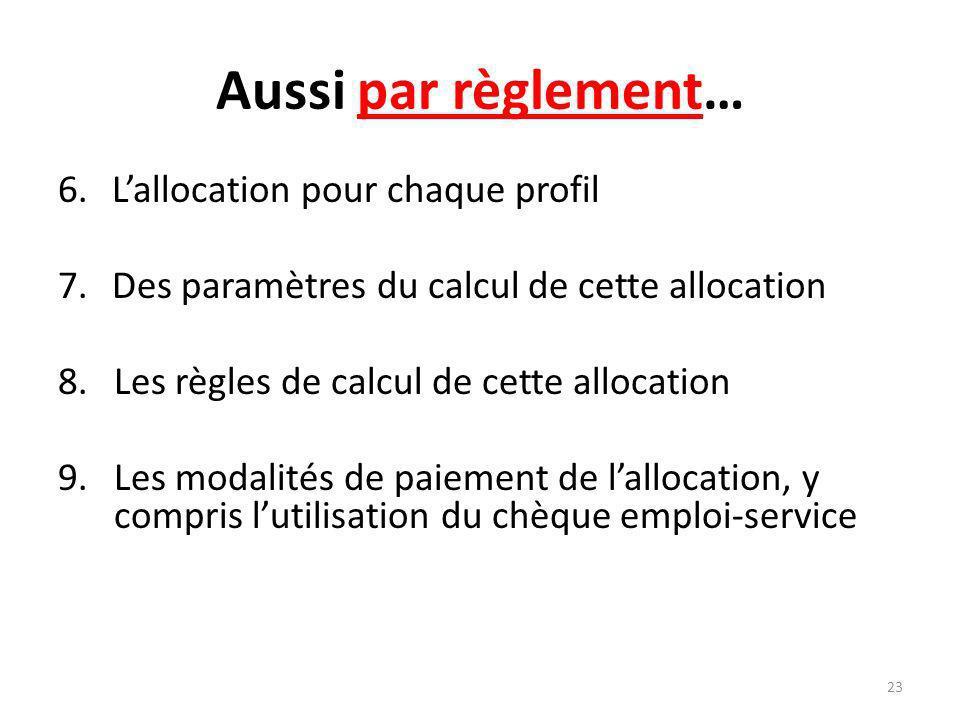 Aussi par règlement… 6.Lallocation pour chaque profil 7.Des paramètres du calcul de cette allocation 8.Les règles de calcul de cette allocation 9.Les