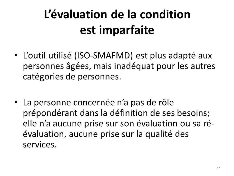 Lévaluation de la condition est imparfaite Loutil utilisé (ISO-SMAFMD) est plus adapté aux personnes âgées, mais inadéquat pour les autres catégories