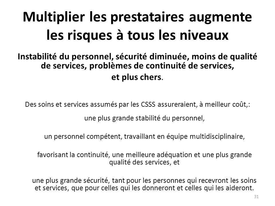 Multiplier les prestataires augmente les risques à tous les niveaux Instabilité du personnel, sécurité diminuée, moins de qualité de services, problèmes de continuité de services, et plus chers.