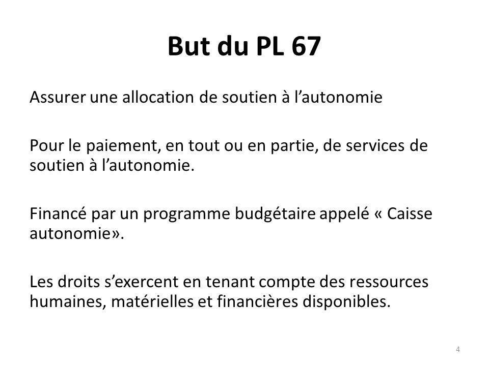 But du PL 67 Assurer une allocation de soutien à lautonomie Pour le paiement, en tout ou en partie, de services de soutien à lautonomie.