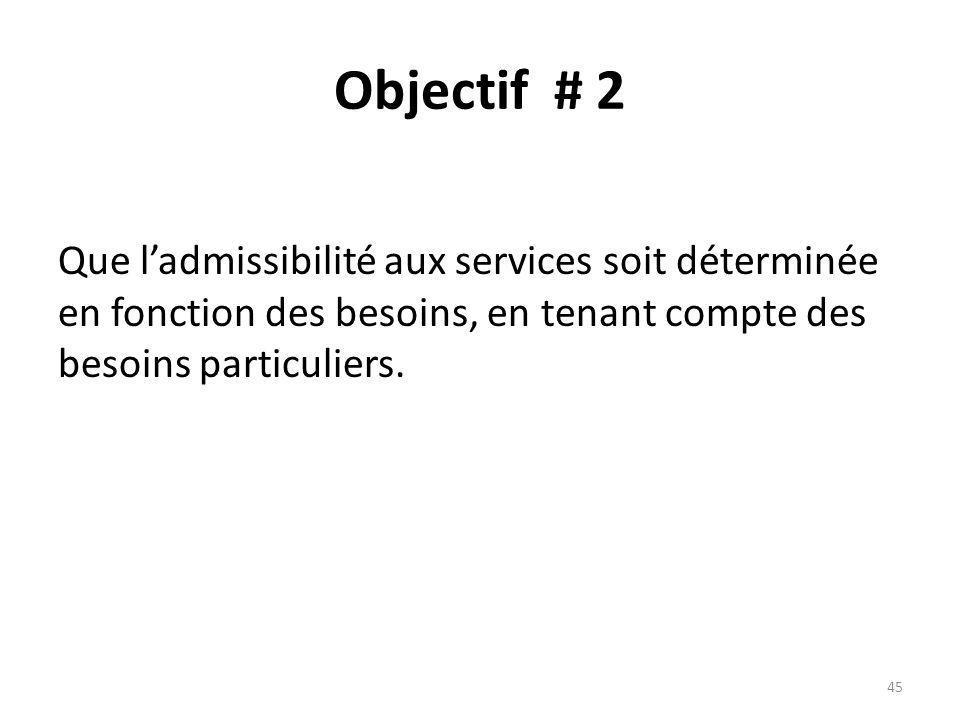 Objectif # 2 Que ladmissibilité aux services soit déterminée en fonction des besoins, en tenant compte des besoins particuliers.