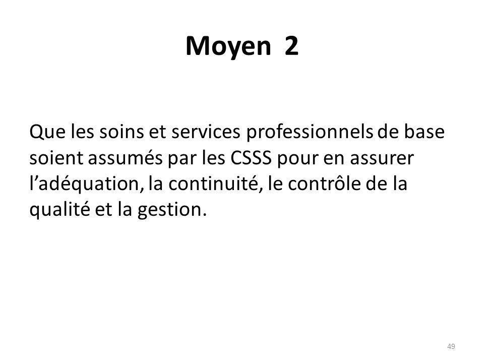 Moyen 2 Que les soins et services professionnels de base soient assumés par les CSSS pour en assurer ladéquation, la continuité, le contrôle de la qua