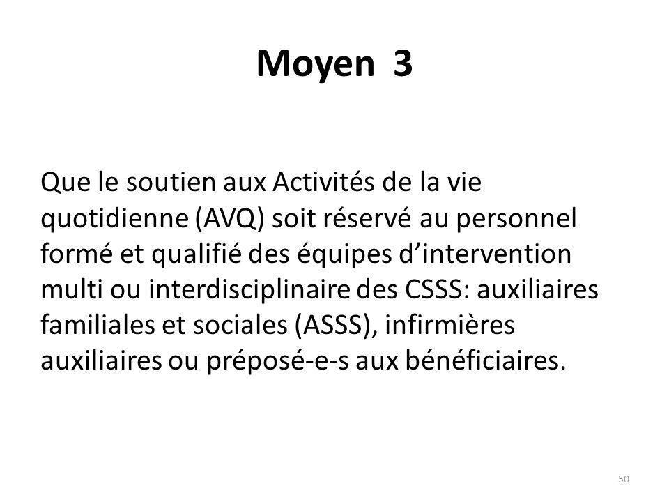 Moyen 3 Que le soutien aux Activités de la vie quotidienne (AVQ) soit réservé au personnel formé et qualifié des équipes dintervention multi ou interd