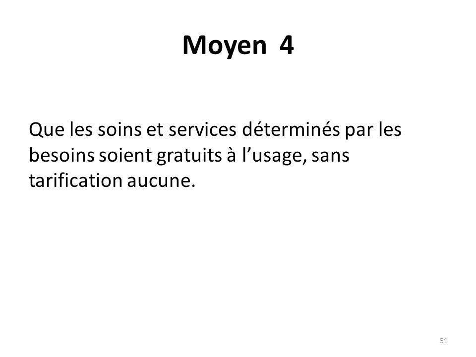 Moyen 4 Que les soins et services déterminés par les besoins soient gratuits à lusage, sans tarification aucune.