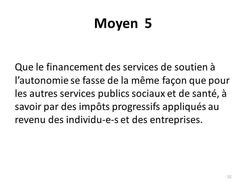 Moyen 5 Que le financement des services de soutien à lautonomie se fasse de la même façon que pour les autres services publics sociaux et de santé, à savoir par des impôts progressifs appliqués au revenu des individu-e-s et des entreprises.